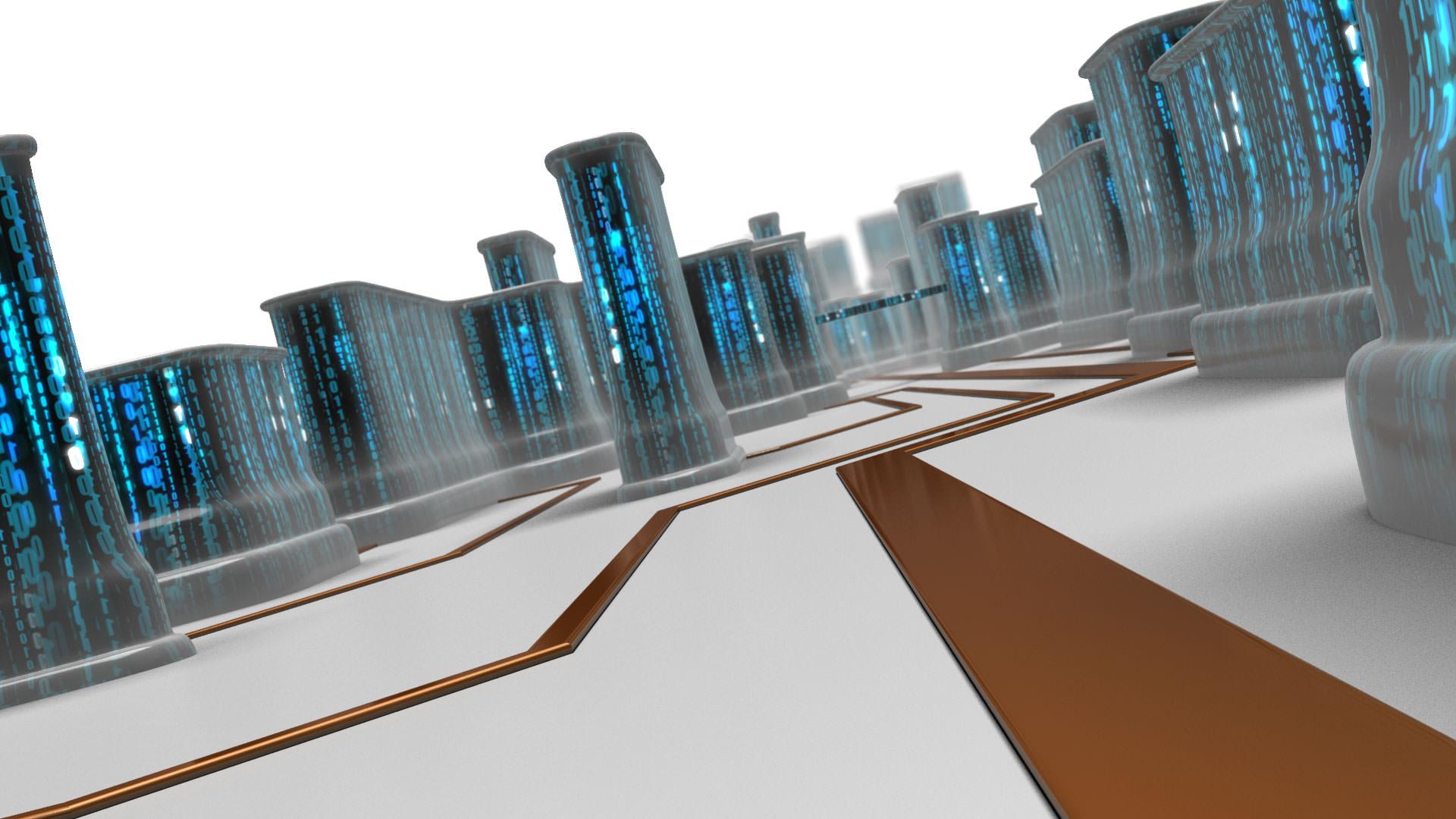 Stadt auf Computerchip